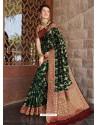 Dark Green Designer Classic Wear Silk Sari
