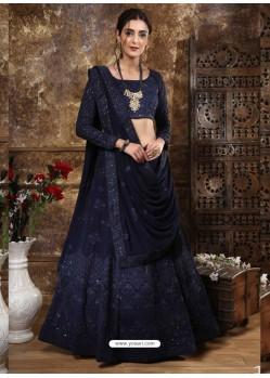 Navy Blue Scintillating Designer Heavy Wedding Wear Lehenga