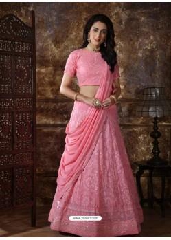 Pink Scintillating Designer Heavy Wedding Wear Lehenga
