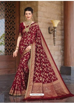 Maroon Designer Classic Wear Silk Sari
