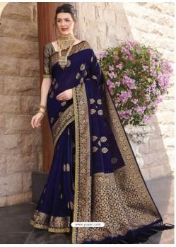 Navy Blue Designer Classic Wear Silk Sari