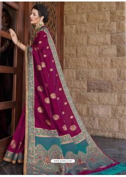 Medium Violet Designer Classic Wear Silk Sari