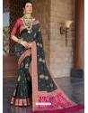 Black Designer Classic Wear Silk Sari
