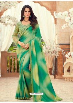 Jade Green Designer Party Wear Chiffon Digital Print Sari