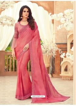 Peach Designer Party Wear Chiffon Digital Print Sari