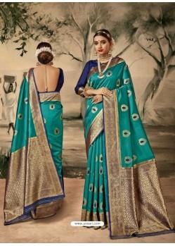 Turquoise Designer Classic Wear Silk Sari