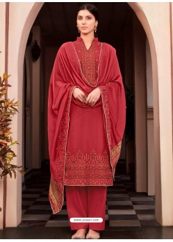 Red Designer Viscose Muslin Party Wear Straight Suit