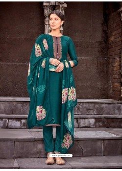 Teal Designer Viscose Muslin Party Wear Straight Suit