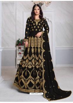 Black Bridal Designer Party Wear Faux Georgette Anarkali Suit
