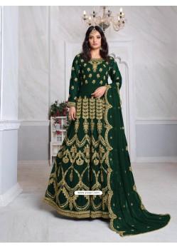 Dark Green Bridal Designer Party Wear Faux Georgette Anarkali Suit