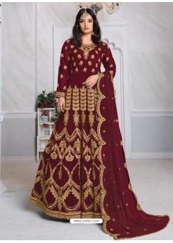 Maroon Bridal Designer Party Wear Faux Georgette Anarkali Suit