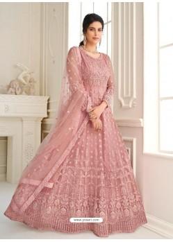 Dusty Pink Bridal Designer Party Wear Butterfly Net Anarkali Suit