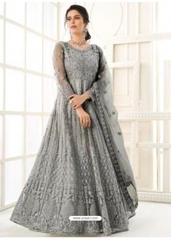 Grey Bridal Designer Party Wear Butterfly Net Anarkali Suit
