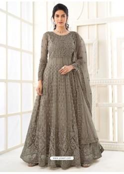 Grayish Green Bridal Designer Party Wear Butterfly Net Anarkali Suit