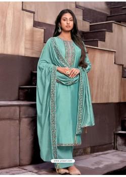 Sky Blue Designer Cotton Silk Party Wear Straight Suit