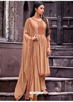 Beige Designer Cotton Silk Party Wear Straight Suit