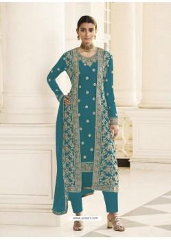 Blue Designer Real Georgette Party Wear Wedding Suit