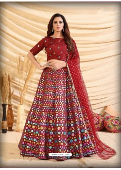 Maroon Scintillating Designer Heavy Wedding Wear Lehenga