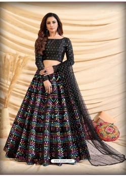 Black Scintillating Designer Heavy Wedding Wear Lehenga