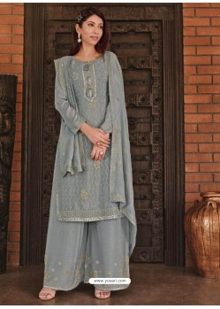 Grey Designer Chinnon Party Wear Palazzo Suit