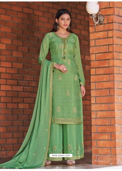 Green Designer Chinnon Party Wear Palazzo Suit