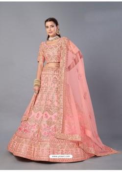 Peach Scintillating Designer Heavy Bridal Wear Lehenga