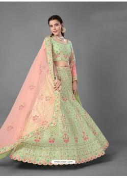 Green Scintillating Designer Heavy Bridal Wear Lehenga