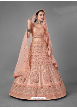 Light Orange Scintillating Designer Heavy Bridal Wear Lehenga