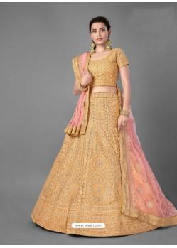 Mustard Scintillating Designer Heavy Bridal Wear Lehenga