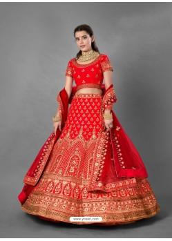 Red Scintillating Designer Heavy Bridal Wear Lehenga
