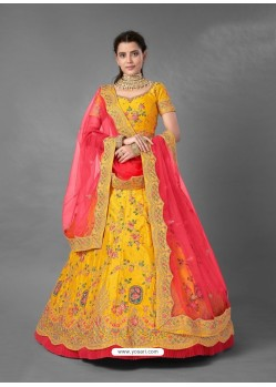 Yellow Scintillating Designer Heavy Bridal Wear Lehenga