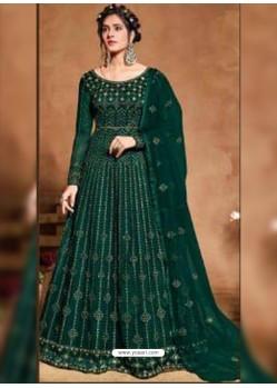 Dark Green Bridal Designer Party Wear Butterfly Net Anarkali Suit