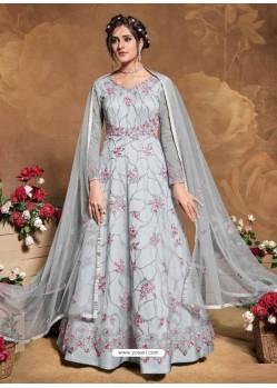 Light Grey Bridal Designer Party Wear Butterfly Net Anarkali Suit