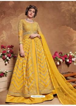 Yellow Bridal Designer Party Wear Butterfly Net Anarkali Suit