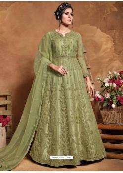 Green Bridal Designer Party Wear Butterfly Net Anarkali Suit