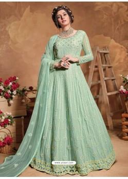 Sea Green Bridal Designer Party Wear Butterfly Net Anarkali Suit