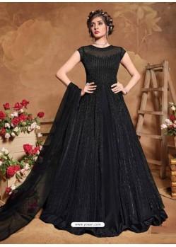 Black Bridal Designer Party Wear Butterfly Net Anarkali Suit