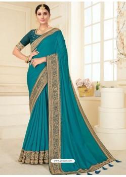 Turquoise Designer Classic Wear Vichitra Silk Sari