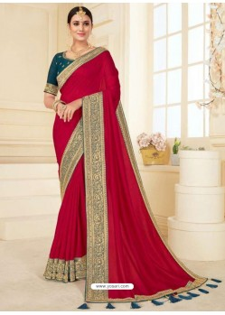 Crimson Designer Classic Wear Vichitra Silk Sari
