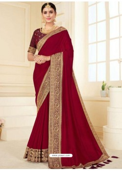 Wine Designer Classic Wear Vichitra Silk Sari