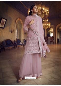 Mauve Designer Organza Party Wear Sharara Suit