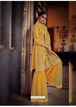 Yellow Designer Organza Party Wear Sharara Suit