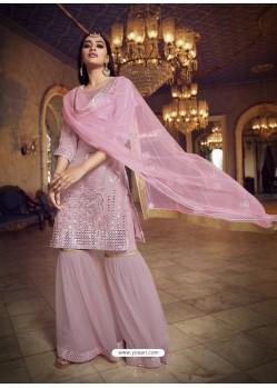 Dusty Pink Designer Organza Party Wear Sharara Suit