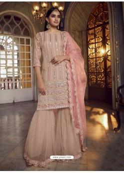 Light Beige Designer Organza Party Wear Sharara Suit