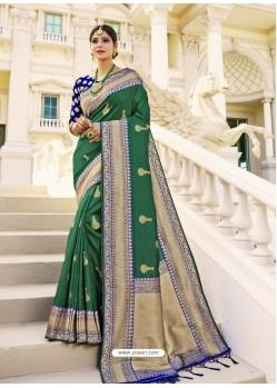 Dark Green Designer Classic Wear Banarasi Silk Sari