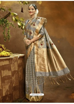 Silver Designer Classic Wear Banarasi Silk Sari