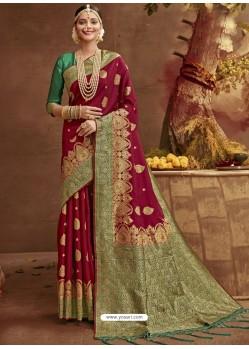Wine Designer Classic Wear Banarasi Silk Sari