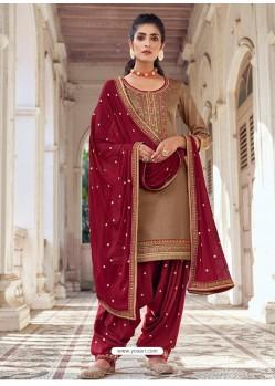 Beige Embroidered Designer Jam Silk Punjabi Patiala Suit