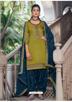 Parrot Green Embroidered Designer Jam Silk Punjabi Patiala Suit
