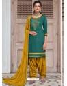 Teal Blue Embroidered Designer Jam Silk Punjabi Patiala Suit